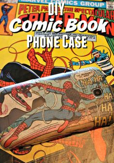 This easy DIY Custom Comic Book Phone Case is simple to do and you can use any comic books you may have, or decorative paper.