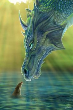 The Dragon and the Water Fox. Fantasy -- Using these colors and if you could make a texture like that of the dragon that would make an awesome Fantasy project! Water Dragon, Blue Dragon, Sea Dragon, Emerald Dragon, Dragon Face, Dragon Book, Fantasy Kunst, Fantasy Art, Dark Fantasy