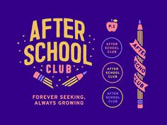 After School Club color school illustration logo apple pencil after school club Graphic Design Branding, Graphic Design Posters, Typography Design, Web Design, Layout Design, Club Poster, After School Club, School Clubs, Grafik Design