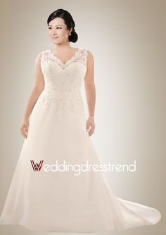 Stunning Plus Size V-neck Sweep Train Wedding Dress