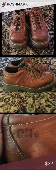 Dr. Martens brown size 7/8-1/2 unisex leather shoe Dr. Martens brown size 7 mens leather shoes. Preloved ! But in good condition ! They can be worn as unisex (women's 8 1/2) each item is shipped within 2 business with a small surprise! Happy poshing! Feel free to ask any questions. Dr. Martens Shoes
