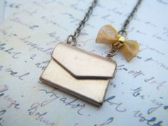 Vintage Love Letters Envelope Locket Necklace from SteampunkByDesign on Etsy