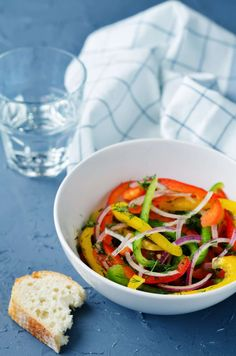 Multicolored bell peppers red onion salad by Arzamasova on PhotoDune. Multicolored bell peppers red onion salad on a stone background. Chimichurri, Menu Restaurant, Red Peppers, Japchae, Thai Red Curry, Food And Drink, Stuffed Peppers, Ethnic Recipes, Onion Salad
