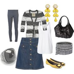 Gray and yellow...could do w/o the leggings!