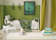 chartreuse room.. love the colors