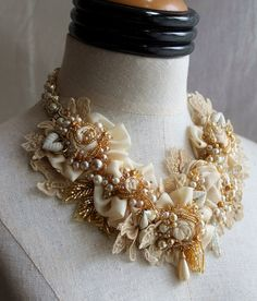 FRESH CREAM Ivory Lace Beaded Textile Pearl Statement Necklace
