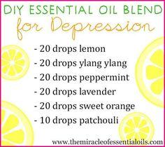 DIY EO diffuser, bath, roller blend + bed spray recipes for depression...