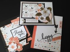#CTMH # Charlotte - Three quick cards using the PML B&T from the WYW (Workshop Your Way) Kit. NEW Black & Gold Ribbon, Treasured Puffies - Gold Complements ...and to top off the fun Springtime Wishes Stamp Set and the absolutely Divine Springtime Wishes Thin Cuts - I am in craft heaven.