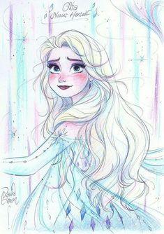 Disney Princess Sketches, Disney Princess Art, Disney Sketches, Disney Fan Art, Disney Drawings, Frozen Drawings, Frozen Fan Art, Frozen Pictures, Pinturas Disney