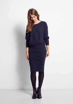 Super soft and so sophisticated, this knitted dress from hush has a slouchy top with dolman sleeves, and fits neatly on the hips for a relaxed chic look.