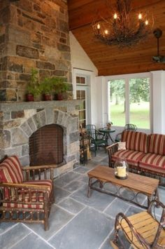 Screened in porch fireplace!  <3  A must have for those cool Montana summer nights!