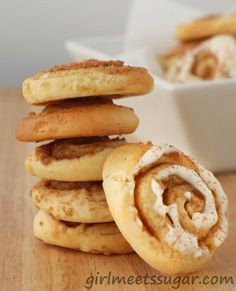 Cinnamon Roll Cookies  Get the recipe here! http://www.girlmeetssugar.com/2012/04/25/cinnamon-roll-sugar-cookies/#