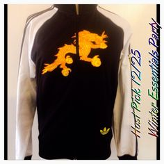 54fd92c6e20e HP SALE Vintage Rare Adidas Bhutan Jacket HP Winter Essential by Rare Adidas  Bhutan Track Jacket Authentic Adidas Black   White with yellow Dragon on  front ...