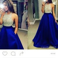 2016 New Fashions Glitter Royal Blue Prom Dress