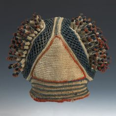 Bamileke or Bamum Prestige Hat, Cameroon African Crown, African Hats, Tribal Costume, Crown Pattern, Clothing And Textile, Oriental Fashion, Historical Costume, Hat Pins, Tribal Jewelry