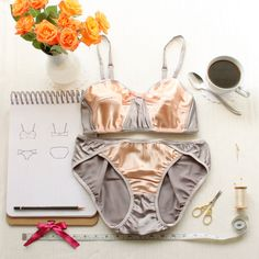 Vintage Style Lingerie Sewing Pattern Set for Ohhh Lulu 1311 Lili Bra and 1312 Rose Panties for Woven Fabrics Instant Download PDF Pattern