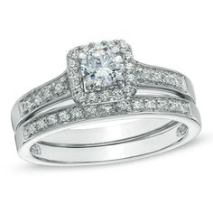 1/2 CT. T.W. Diamond Square Frame Bridal Set in 10K White Gold