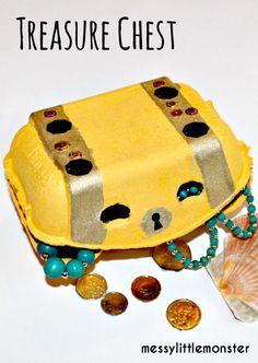 Messy Little Monster: Egg carton pirate treasure chest craft for kids