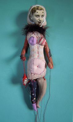 : Cecile Perra, embroidered puppets