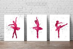 Ballerina Party Pink Tutu Silhouette Ballet by Silhouetown on Etsy