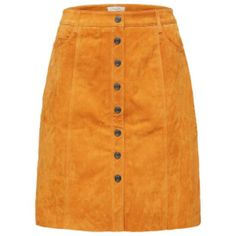 Atla Yellow Suede Skirt (640 RON) ❤ liked on Polyvore featuring skirts, bottoms, button-front skirts, above the knee skirts, orange suede skirt, orange skirt and button up front skirt