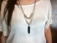 Collar Largo Cadena Metal - Pendulo Piedra Negra - $ 300,00 en MercadoLibre