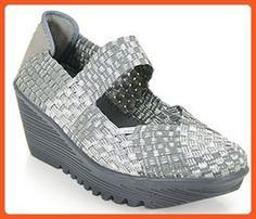 Bernie Mev Womens Lulia Silver Gray Wedge - 39 - Sandals for women (*Amazon Partner-Link)
