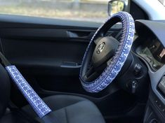 Set of car accessories Steering wheel cover Elephants Birthday gift Seat belt cover Elephant gifts Mindfulness gift Girlfriend gift Present