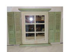 Shutter Mirror Window Sage Green Cream Homco Home Interior | eBay