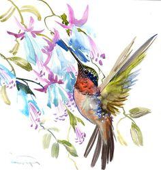 Hummingbird painting, 12 in,bright color flowers, original watercolor red blue wall art Watercolor Red, Watercolor Animals, Watercolor Paintings, Hummingbird Painting, 2d Art, Watercolor Techniques, Photo Art, Original Artwork, Wall Art