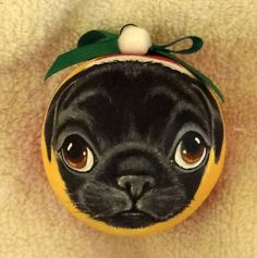 Black Pug Puppy Dog Christmas Gift Ornament Hand Painted on Gourd Fathers Day   eBay
