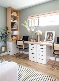 Bedroom Office Combo, Guest Bedroom Home Office, Spare Room Office, Home Office Setup, Home Office Space, Office Ideas, Ikea Office, Living Room And Bedroom Combo, Home Office Paint Ideas