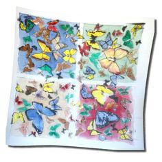 Pestrofarebná hodvábna šatka MOTÝĽE Vás rozveselí v každom počasí.Pestré farby a nádherné maľby motýľov rozveselia každého. Motýľ je symbolom prelietavosti, pár motýľov symbolizuje šťastné manželstvo a biely motýľ stelesňuje ducha zosnulého. http://bit.ly/1npwi3o