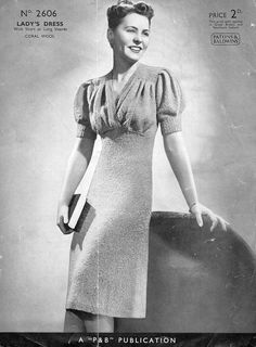 Stunning 1940s Knitted Dress Pattern pdf. $3.00, via Etsy.