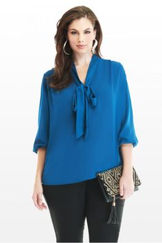 Plus Size Tie Neck Blouse | Fashion To Figure