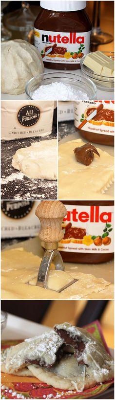 Nutella Ravioli: sugar cookie dough + #Nutella + white chocolate chips + powdered sugar