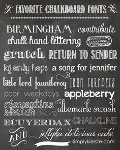 favorite chalkboard fonts   simplykierste.com