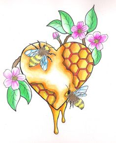 bumble bee with honey comb tattoo - Google Search
