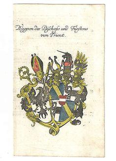 Wappen des Bischofs und Fürstens von Trient – Kupferstich 1756
