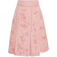 Prada Embellished pleated silk-crepe wrap skirt (9.255 BRL) ❤ liked on Polyvore featuring skirts, prada, bottoms, pink pleated skirt, polka dot skirts, pink skirt and embellished skirts
