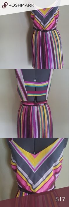 """As U Wish Striped Fit and Flare Dress Striped anything is the latest trend! Wear this multicolored pleated bottom gorgeous dress and be In.Style. As U Wish, size: XL, length: 34"""", chest: 36, waist: 32"""". Polyester. As U Wish Dresses Backless"""