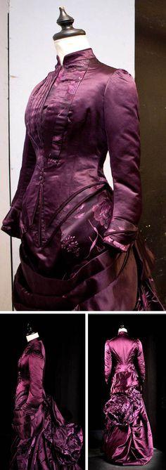 Day dress, French, ca. 1884. Eggplant silk satin. Garren Collection of Historic Dress, Univ. of Virginia. From UVA Magazine.