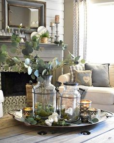 42 Elegant Farmhouse Decor Ideas For Living Room - Your living room should be decorated in your own personal style, not that of a decorator. The living room is usually the first room that your guests s. Farmhouse Table Centerpieces, Simple Centerpieces, Farmhouse Decor, Shower Centerpieces, Christmas Centerpieces, Centerpiece Ideas, Room Decor Bedroom, Diy Room Decor, Living Room Decor
