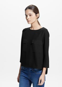 Chest-pocket crepe blouse