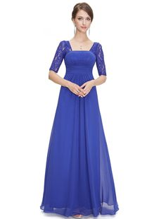 Ever Pretty Half Sleeve Square Neckline Ruched Waist Evening Dress 08038 at Amazon Women's Clothing store:
