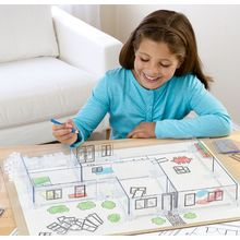 """Kids learn real drafting skills as they re-create their home or invent a building, designing their own floor plans and bringing buildings to life as 3-D models. Young Architects includes 54 walls, 44 joint bases, room and furniture templates, 18"""" x 24"""" Plexiglas® work surface, drafting paper, static-cling door and window stickers, colored pencils and instructions."""