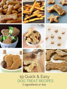 19 simple dog treat recipes #dogtreats #diydog #dogtreatrecipes Make some healthy homemade dog treat recipes, each has five ingredients or less making it perfect for novices and those short on time.