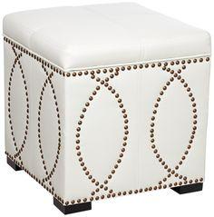 Rouel Faux Leather Vanilla Storage Cube | LampsPlus.com