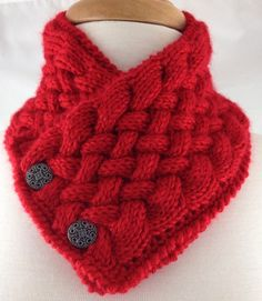 Harvest Red Hand knit Basket Weave Neck warmer Scarf Caron Simply Soft @ntonelli