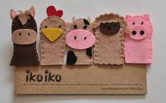 IKO Títeres de dedo  Títeres de la Granja  Set de 5 por IkoIkoToys, $16.00